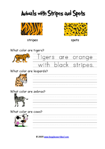 Animals with Stripes and Spots Worksheet