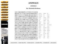 Animals Wordsearch Worksheet