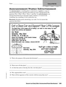 Announcement/Poster Advertisement Worksheet