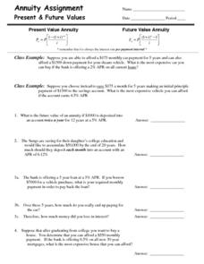 Annuity Assignment: Present & Future Values Worksheet