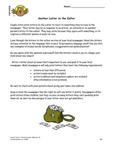 Another Letter To the Editor Lesson Plan