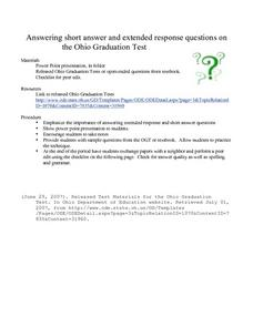 Answering short answer and extended response questions Lesson Plan