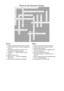 Answers for Physical and Chemical Changes Crossword Worksheet