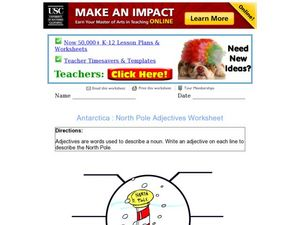 Antarctica: North Pole Adjectives Worksheet Worksheet
