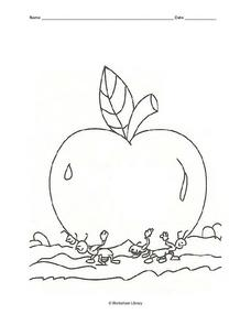 Ants Moving an Apple (Coloring) Worksheet
