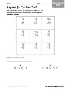 Anyone for Tic-Tac-Toe? - Enrichment 20.2 Worksheet