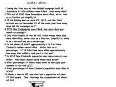 Anzac Math Worksheet