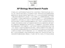 AP Biology Word Search Puzzle Worksheet