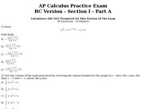 Worksheets Calculus Worksheets ap calculus practice exam 11th 12th grade worksheet lesson planet worksheet