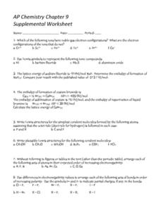 AP Chemistry Chapter 9 Worksheet