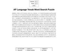 AP Language Vocab Word Search Puzzle Worksheet