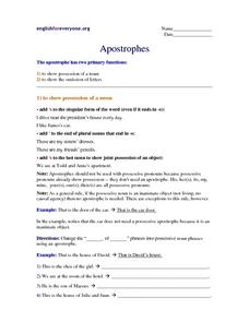 Apostrophe Function and Punctuation Worksheet