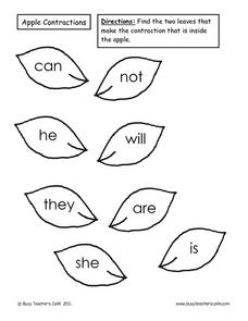 Apple Contractions Lesson Plan