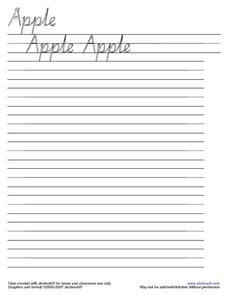Apple Cursive Practice Worksheet