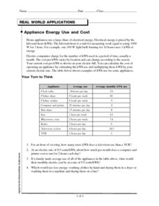 Appliance Energy Use and Cost Worksheet