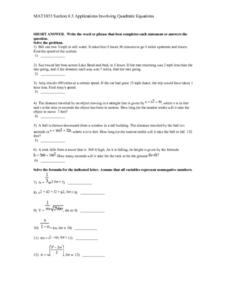 Applications Involving Quadratic Equations Lesson Plan