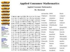 Applied Consumer Mathematics Worksheet