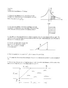 Applied Maximum/Minimum Problems Worksheet