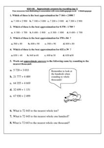 Approximate Answers By Rounding (pg. 1) Worksheet
