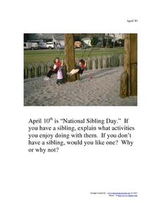 April 10 - National Sibling Day Worksheet