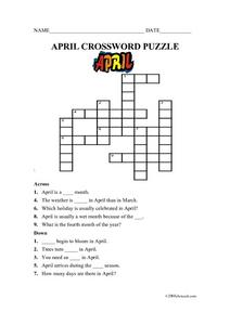 APRIL CROSSWORD PUZZLE Worksheet