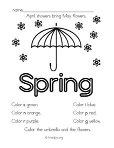 April Showers Bring May Flowers 1st Grade Worksheet