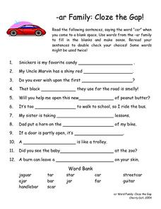 -ar Word Family Cloze Activity Lesson Plan