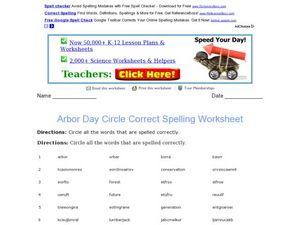 Arbor Day Circle Correct Spelling Worksheet Worksheet