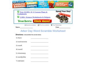 Arbor Day Word Scramble Worksheet