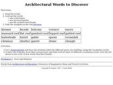 Architectural Words To Discover Worksheet