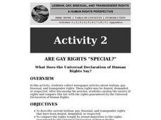 "Are Gay Rights ""Special""? Lesson Plan"