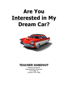 Are You Interested in My Dream Car? Lesson Plan
