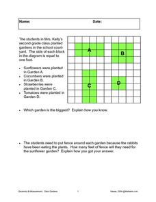 Area and Perimeter of Gardens Worksheet