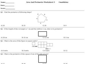 Area And Perimeter Worksheet 3 Worksheet