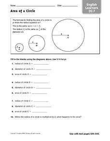 Area of a Circle - ELL 20.7 Worksheet