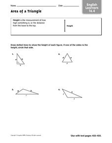 Area of a Triangle: English Learner 16.4 Worksheet