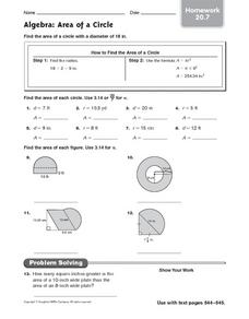 Area of Circle - Homework 20.7 Worksheet