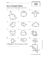Printables Area Of Irregular Shapes Worksheet area of irregular shapes 10th grade worksheet lesson planet worksheet