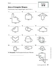 area of irregular shapes 10th grade worksheet lesson planet. Black Bedroom Furniture Sets. Home Design Ideas