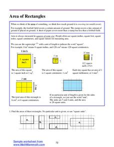 Area of Rectangles Worksheet