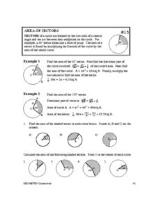 Area of Sectors 10th - Higher Ed Worksheet | Lesson Planet