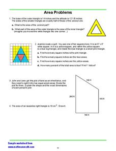 Area Problems/ Triangles Worksheet