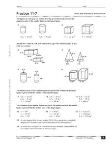 Areas and Volumes of Similar Solids Worksheet