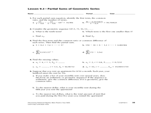 Worksheets Sequences And Series Worksheets arithmetic series geometric partial sums of worksheet