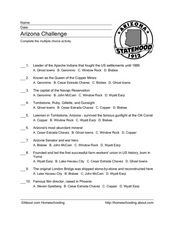 Arizona Challenge Worksheet