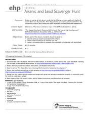 Arsenic and Lead Scavenger Hunt Lesson Plan