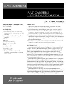 Art careers interior decorator 6th 12th grade lesson for Interior design lesson plans for middle school