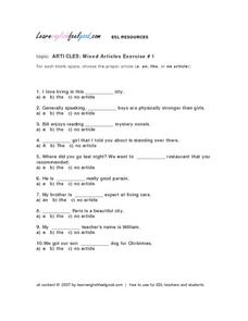 Articles: Mixed Articles Exercise #1 Lesson Plan