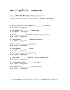 Articles: Mixed Articles Exercise #3 Lesson Plan
