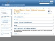 Arts and Culture: Dance - Historical Background of Dances Lesson Plan